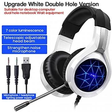 DYHF Gaming-Headset mit Surround-Sound-Stereo N1 kabelgebundene Kopfhörer mit Mikrofon mit Geräuschunterdrückung und buntem Atemlicht kompatibel mit PC Laptops und mobilen Geräten