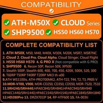 ATH M50X Ohrpolster kompatibel mit HS50 HS60 HS70 SHP9500 G PRO X M50 M40 M40X Cloud 2 Cloud Pro Cloud Alpha Cloud Stinger Cloud Flight Kopfhörer I Velours
