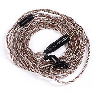 4-adriges silbernes Kupfer-gemischtes Upgrade-Kopfhörerkabel Upgrade 2-poliges abnehmbares Kopfhörerkabel Ersatz-Kopfhörerdraht 3 5 mm Stecker für BLON BL-03 Kopfhörer (3 5 mm Stecker gemischt)