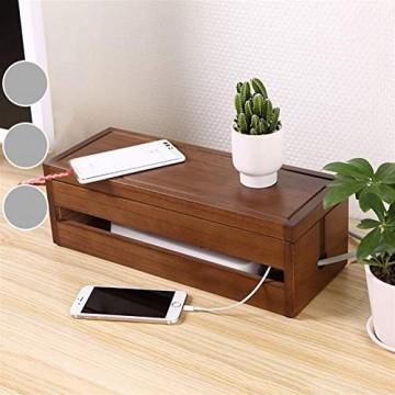 Insun Aufbewahrungsbox für Kabel und Steckdosenleiste Kabelbox Holz Handgemacht Kabelmanagement Box Kabel Organizer Dunkelbraun 37.7x14.3x12.3cm