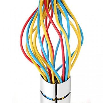 RICOO Kabelkanal für höhenverstellbarer Bürotisch/Schreibtisch - (Z0102-S) Kabelführung Silber Länge 74 cm Flexibel Wirbel Kabelschlauch Kabel-Management