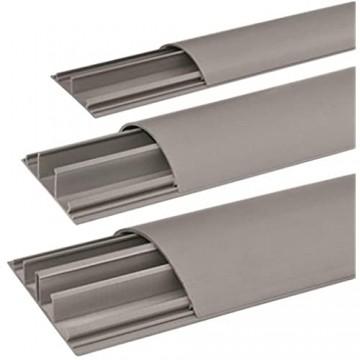 SCOS Smartcosat SCOSKK274 1 m Habrund Kabelkanal (L x B x H 1000 x 75 x 20 mm PVC Fußboden Kanal Selbstklebend) grau