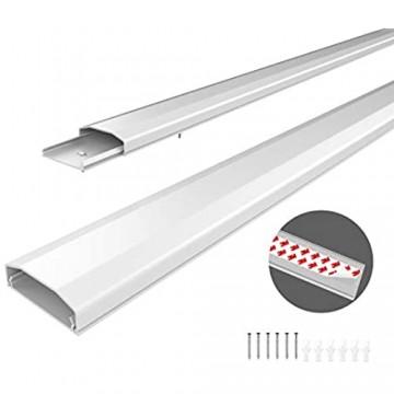 conecto Kabelkanal mit 3M Klebeband selbstklebend selbsthaftend zum Kleben oder Schrauben aus hochwertigem PVC (Länge 100cm Breite 6cm Höhe 2cm) weiß
