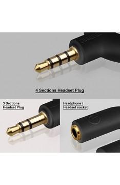 AFUNTA Headset Audio Stereo-Splitter Kit U-Form-3 Pin 3 5 mm Klinke auf 2 Kopfhörer + U-Form 4 Pin Adapter 2 3.5mm 4 Pin-Kopfhörer mit Mikrofon für Handys Computer MP3 Tablet Etc.