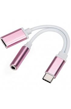 HSKB Adapter Splitter USB-C Typ C auf 3 5 mm Adapter und Ladeadapter für Kopfhörer und Ladegerät [ Audio und Lade-Adapter ] für Samsung Galaxy S10 / S9 Plus für Huawei P9 / G9 usw (Roségold)