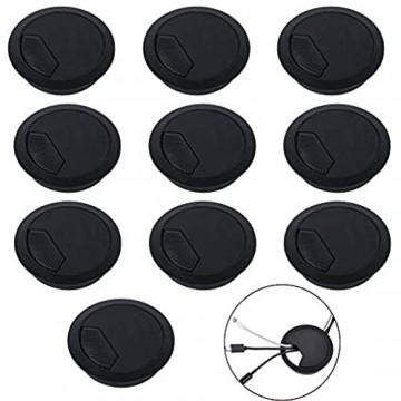 ManLee 10pcs Kabeldurchführung 60 mm Schreibtisch Kunststoff Kabeldurchlass Schwarz Kabel Kabelloch Abdeckung Rund Kabeldose für Schreibtisch Computertisch Arbeitsplatten Möbel