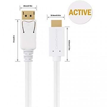 CableCreation Aktiv DP auf HDMI Kabel (DP1.2) 1 8M DisplayPort zu HDMI Kabel 4K x 2K & 3D Audio/Video HDMI DP Konverter Eyefinity Multi-Screen-Unterstützung 6Fuß/ Weiß