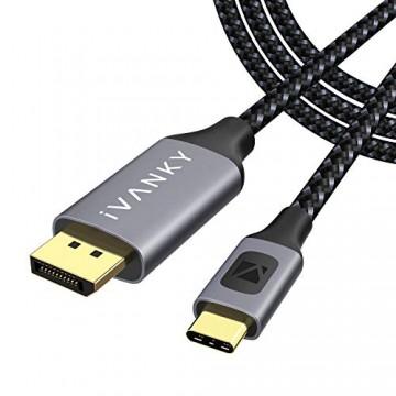 iVANKY USB C auf DisplayPort Kabel 3M 4K@60Hz Typ C auf DP Kabel [Thunderbolt 3 kompatibel] für MacBook Pro/Air 2019/2018 iPad Pro 2018 Surface Book 2 Huawei Mate Galaxy Note und mehr
