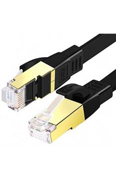 SHULIANCABLE Cat 8 Netzwerkkabel Flach Ethernet Kabel 40Gbit/s 2000Mhz LAN Kabel mit vergoldete RJ45 für Switch Router Modem Access Point Router PS4 Smart TV (1M)