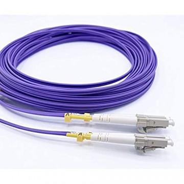 Elfcam Glasfaserkabel LC/UPC auf LC/UPC OM4 Multimode-Duplex-Glasfaserkabel (50/125 um) LSZH (15M)