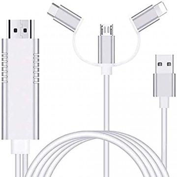 Ozvavzk 3 in 1 Blitz USB Type C Telefone zu HDMI Kabel Adapter Smartphone auf HDMI Cabel Konverter 1080P Digital to AV HDTV Mirroring Wandler für i Phone Android TV Projektor Monitor