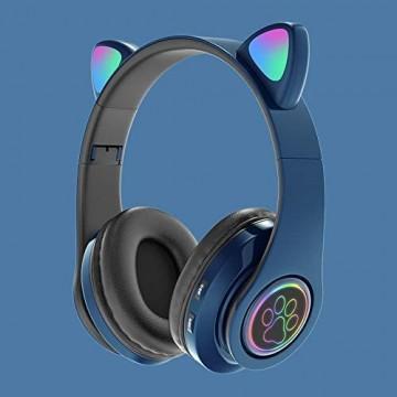 HUJIN Cute Cat Ear Luminous Wireless Kopfhörer mit Mikrofon Stereo Bluetooth Headset mit Mikrofon Cute Ohrhörer für Jungen und Mädchen