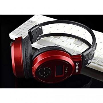 Marasala QuelimaSH-S1 Universal Wireless Headset - Sport Kopfhörer Mit Mikrofon - Stereo Over-Ear Faltbar Headset Noise Cancelling - LED FM Radio + TF-Karte unterstützen + Lautstärkeregler (Rot)