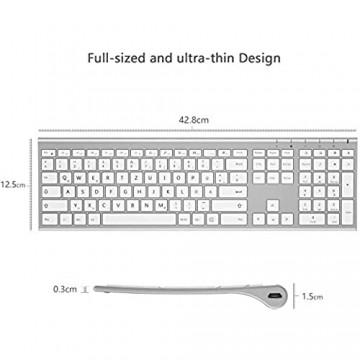 Jelly Comb Bluetooth Funktastatur Kabellose Wiederaufladbare Fullsize Tastatur mit 3 Bluetooth Kanal für MacBook iMac iPad Mac OS QWERTZ Deutsches Layout Weiß und Silber