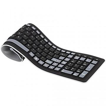 TOOGOO(R) Wireless Tastatur Tragbare Mini Flexible Roll Up wasserdichte Waschbare Weiche Silikon Wireless Tastatur mit USB-Empfaenger Fuer PC Tablet Laptop Computer