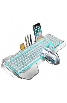 2 4 G Mechanisches Gefühl Wiederaufladbares kabelloses Tastatur- und Mausset 3000 mAh Kapazität LED-beleuchtetes Wasserdichte Gaming-Tastatur Anti-Ghosting + 2400 DPI Gaming-Maus mit 6 Tasten