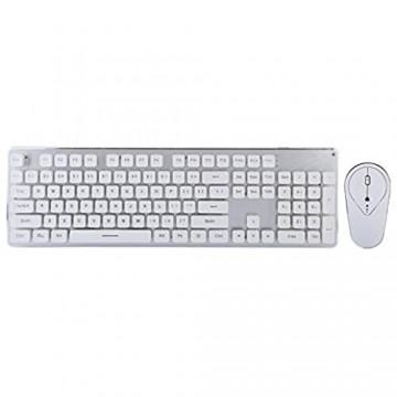 USB Wireless Gaming Maus Tastatur Set Kabellose Maus Tastatur Aufladbare Noiseless Tastatur Maus Combo Kompatibel mit La sergravur Technologie/Rutschfestigkeit/keiner Korrosion(Silberweißes Eisblau)