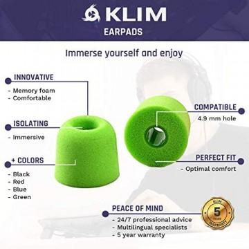 KLIM Kopfhörer Ohrhörer 4.9mm Memoryschaum - 12 Ohrhörer - Überaus bequem - Isolierung von Außengeräuschen - 2 Verschiedene Größen 2020 Version