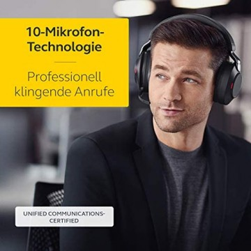 Jabra Evolve2 85 Wireless Headset – Noise Cancelling UC Zertifizierte Stereo Kopfhörer mit langer Akkulaufzeit – USB-C Bluetooth Adapter – schwarz
