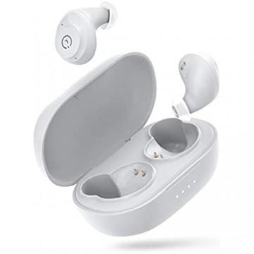 ENACFIRE Bluetooth Kopfhörer E60 kabellos Ohrhörer mit Wireless Ladekoffer 8H ununterbrochene Wiedergabezeit Dual Apt-X Deep-Bass Ohrhörer wasserdichte IPX8 Bluetooth V5.0 Kopfhörer Weiß