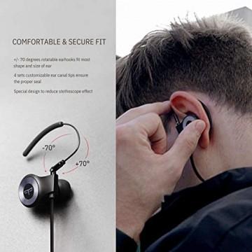 Origem HS-3 Bluetooth Kopfhörer mit HDR-Audio & Sprachsteuerung & BT 5.0 wasserdichte Sport Kabellose Ohrhörer mit 40 Minuten Schnellladung für Joggen/Laufen/Fitness (Silber)